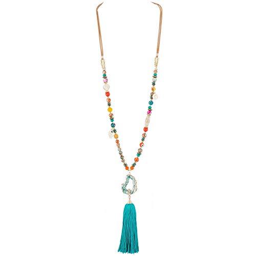 Belle Miss – Collar Largo de fantasía para Mujer Chic y de Moda en Resina imitación Piedra Multicolor y pompón Azul – Joya de diseño cumpleaños