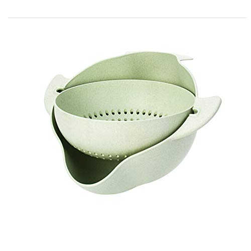 Lowest Prices! WUYANJUN Round Green Vegetable Drain Basket, 360-degree Rotation, Easy to use, Household Items, PP Safety Material, Suitable for Kitchen, Fruits, Vegetables.