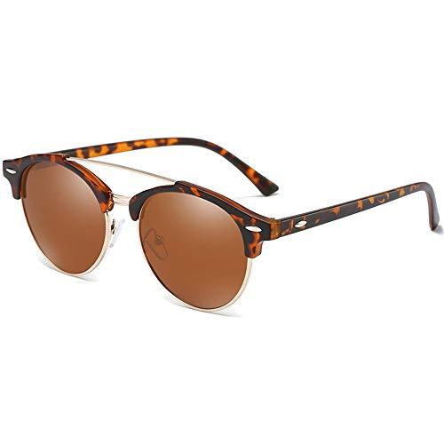 WHSS Gafas de sol de moda salvaje nuevo material de metal colorido polarizado gafas de sol negro/marrón/verde hombres y mujeres con la misma conducción gafas de sol (color: marrón)