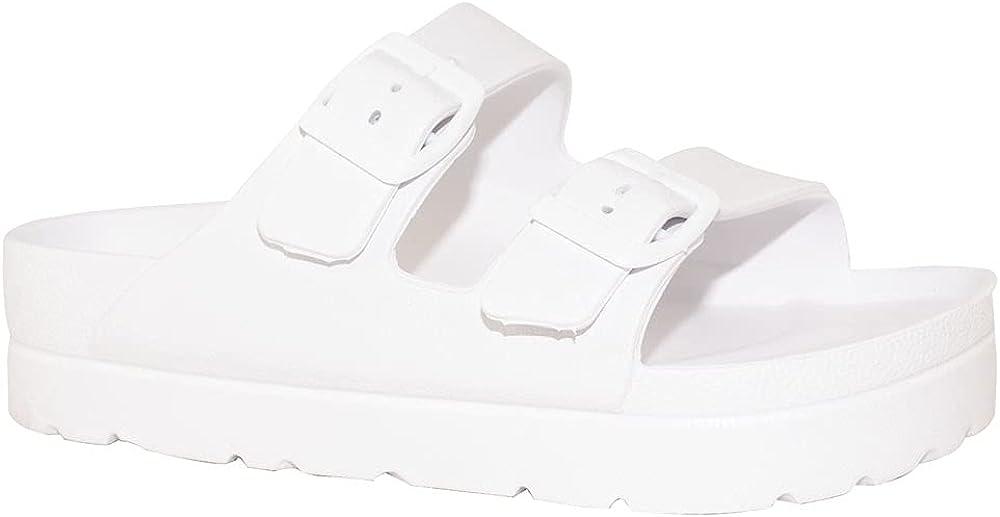 TRENDSUP Women's Comfort Slides Double Buckle Adjustable EVA Flat Sandals
