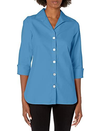 Foxcroft Damen Pandora Non-Iron Pinpoint 3/4 Sleeve Tunic Button Down Hemd, Mountain...