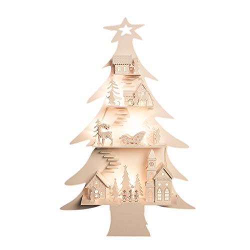 The Christmas Workshop - Decoración de Navidad (8 ledes, funciona con pilas, madera, diseño de ciudad y árbol de Navidad)