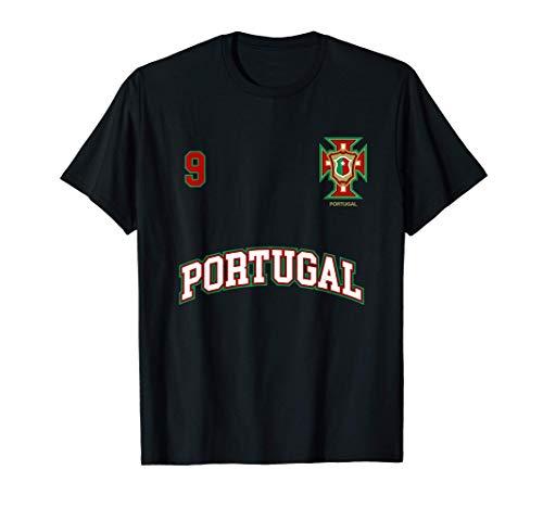 Équipe Football Portugal Sports Nombre 9 Drapeau Portugaises T-Shirt