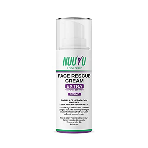 Nuuyu - Face Rescue Cream con Aceite de CBD - Crema Facial Hidratante - Presentación 50 ml - Aceite de Cáñamo Orgánico - No Contiene THC - Efecto Anti envejecimiento - Cosmética Natural