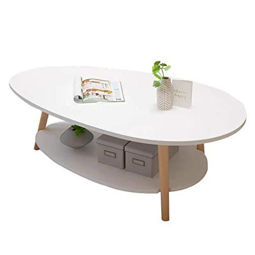 A&D Mesa de Centro, Mesa de Comedor de Doble Capa Panel de Madera Sala de Estar Comedor Dormitorio Mesa de café, Blanco