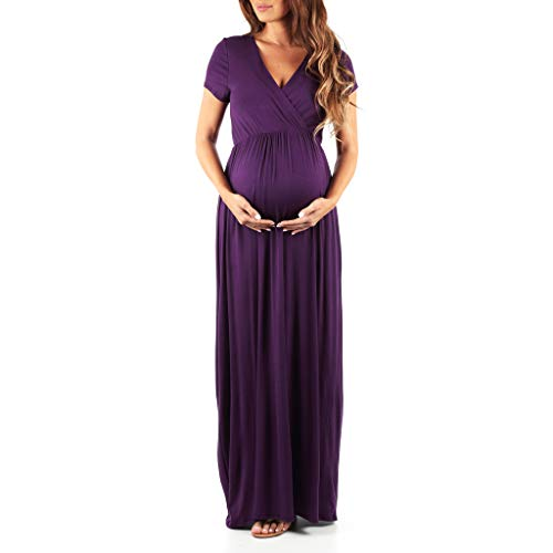 Mother Bee Maternity Women's Maternity Short Sleeve Dress - Made in USA (Eggplant, Small)