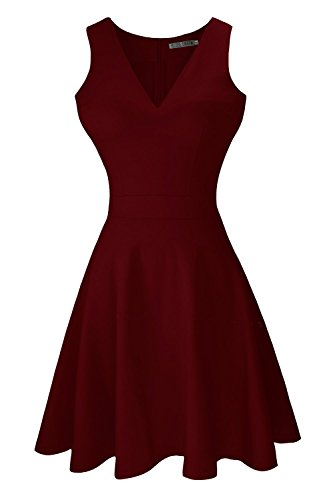 Sylvestidoso Women's A-Line Sleeveless V-Neck Pleated Little Wine Red Cocktail Party Dress (L, Wine Red)