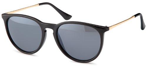 Vintage Sonnenbrille im angesagtem 60er Style mit trendigen goldfarbenden Metallbügeln Brillentrends (schwarz_smoke)