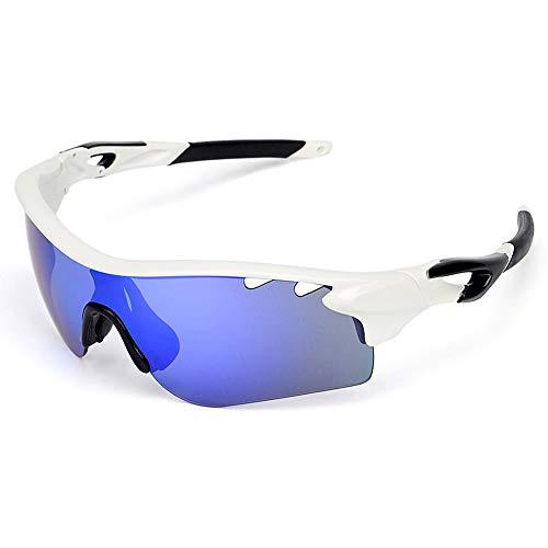 SPOSUNE Polarisierte Sport-Sonnenbrille OTG-Brille mit 5-Satz Wechselgläsern für Männer Frauen PC Unzerbrechlicher Rahmen für Radfahren Laufen Fischen Golf Baseball-Brille