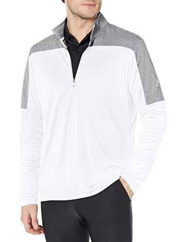 adidas Golf Men's Lightweight Recycled Polyester Quarter Zip Pullover, White, Medium