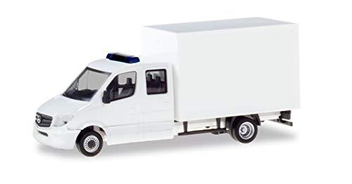 herpa 013666, weiß Minikit Mercedes-Benz Sprinter Doppelkabine mit Koffer, LKW zum Basteln und Sammeln