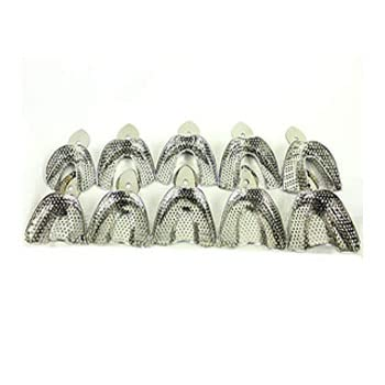 Yamu Dental Impression Trays Plasma Coated Perforated Stainless Steel Quick Cleaning Dentures Orthodontics (Regular Impression Trays Set 10pc) dentis use