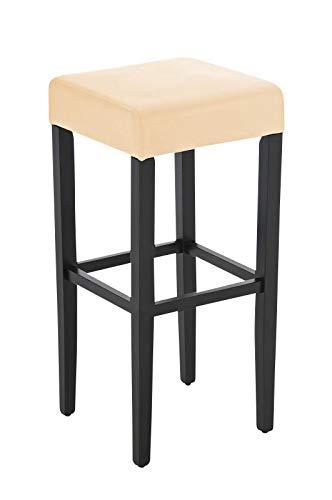 CLP Holz-Barhocker Judy mit hochwertiger Polsterung und Kunstlederbezug I Quadratischer Hocker mit Holzgestell und Fußstütze, Farbe:schwarz/Creme