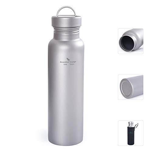 iBasingo 800 ML Titanium Sports Bottle Bouteille d'eau extérieure étanche aux fuites Cantine Pot à Boire Flask Pot Camping Randonnée Escalade Voyager Cyclisme Ti1508I