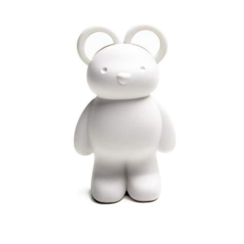 Teddy met schaar, bandenverzwarer en magneet voor paperclips in wit. Praktisch cadeau: ca. 4 cm.