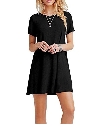 Falechay Kleid Damen Sommerkleid Tunika Freizeitkleid Atmungsaktives Rundhals Kurzarm Knielang T-Shirtkleid,Schwarz,S