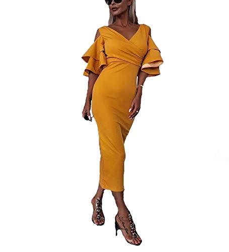 made2envy Fashionable Bell Sleeves Midi Dress (L, Yellow) D2559YL