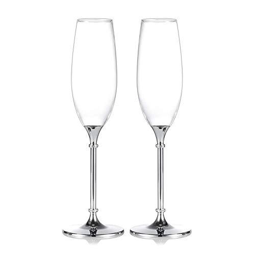 (1 Paio Di) 2 Bicchieri Da Champagne Ad Alta Qualità Calice Di Cristallo Decorato Da Diamanti Bicchiere Da Brindisi Per Nozze Decorazione Di Bicchieri