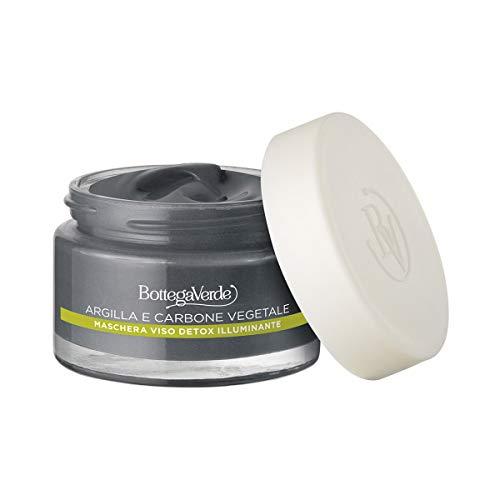 Bottega Verde - Maschera Viso Detox Illuminante per tutti i tipi di pelle - Contiene Argilla di Sicilia, Carbone Vegetale, Olio Essenziale di Ylang Ylang - 50 ml