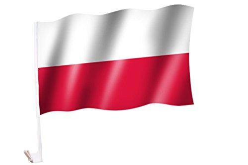 2 Stück/1 Paar Autoflagge/Autofahne Polen / Polska / Poland - Fahne / Flagge für Auto 2x - car flag