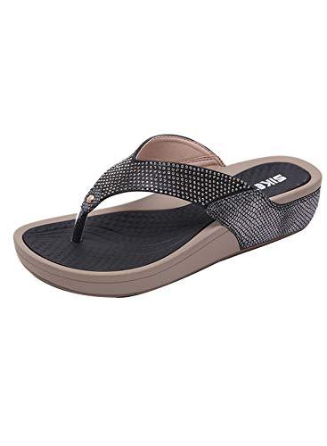 CORAFRITZ Moda de mujer Rhinestone pendiente talón Flip Flop verano Clip Toe vacaciones estilo zapatillas playa
