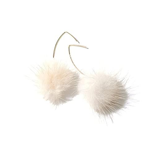 JIANGCJ Bonitos pendientes de bola de pelo con forma de gota de lágrima, pendientes de temperamento, joyería de fiesta, regalos de boda para mujeres y niñas
