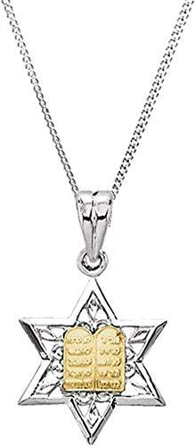 LKLFC Collar Colgante Collar de Cadena Mujer Hombre Collar Estrella de David Colgante Collar en Plata de Ley y Oro Amarillo de 14k 24 Regalo