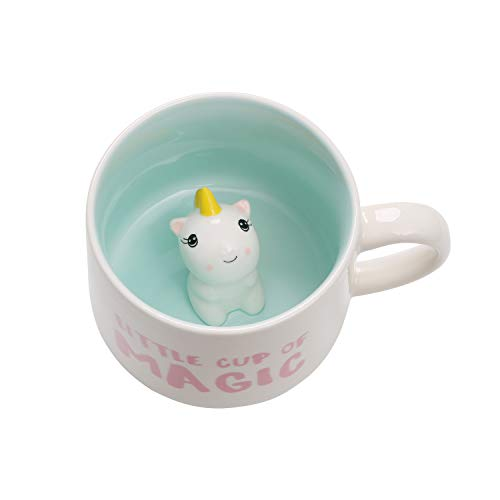 3D Animal Coffee Mug Baby Unicorn Inside,Cute Handmade Figurine Ceramics Cup 12 oz,Christmas&Birthday&Mother's Day Surprise for Friends Family or Kids,Best Office Cup Couples Mug (Unicorn)