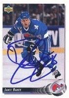 Jamie Baker Quebec Nordiques 1992 Upper Deck Autographed Card. This item comes with a certificate of authenticity from Autograph-Sports. Autographed