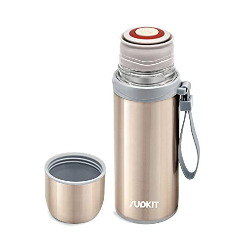 Stainless Steel Thermos Cup, Supkit 12oz Vacuum Cup, BPA Free, Insulated Water Bottle Keep Hot & Cold for Hours, Perfect for Biking, Camping, Office, Car or Outdoor Travel (Gold)
