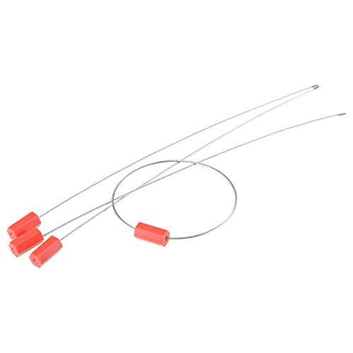 Sourcingmap - Etiquetas de seguridad antimanipulación para cables de acero, 32,5 cm de largo para puerta de camión contenedor de carga, color rojo, paquete de 30