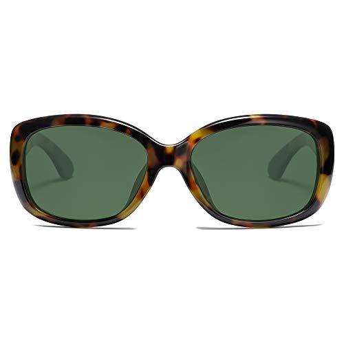 SOJOS Occhiali da Sole Vintage Quadrati per Donna Protezione UV Polarizzata Cornice Havana SJ2111 con Montatura in Tartaruga Verde / Lente G15