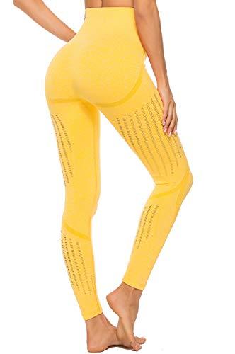 INSTINNCT Leggins Sportivi da Donna Vita Alta Pantaloni Elastici di Fitness per Allenamento Yoga Collant di Base Dimagrante Giallo S