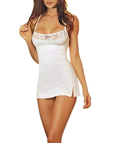 ZANZEA Damen Spitze Lingerie Babydolls Nachtwäsche Dessous Set mit G-String Nachthemd Kleid Weiß EU 38/US 6
