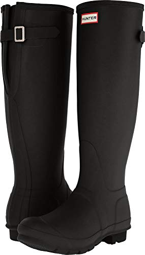 HUNTER Women's Original Back Adjustable Rain Boots (9 M US, Black Gloss)