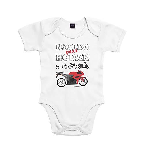 SUPERMOLON Body bebé algodón Nacido para rodar 3 meses Blanco Manga corta