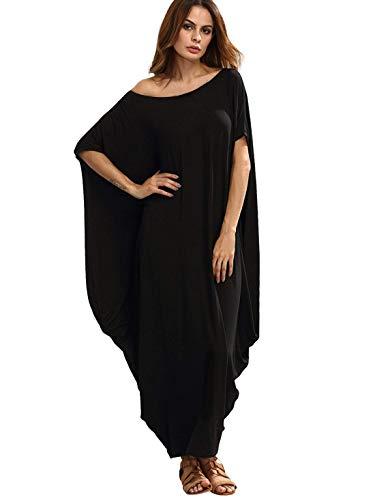 Verdusa Women's One Off Shoulder Batwing Sleeve Baggy Caftan Harem Maxi Dress Black XXL