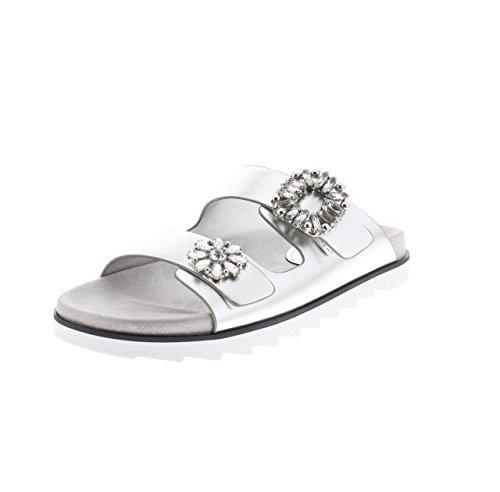 Guess - Sandalias de verano para mujer, diseño moderno, color plateado, color Plateado, talla 36 EU