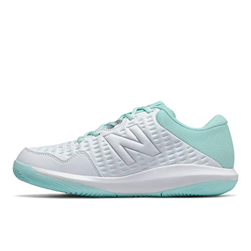 New Balance Women's 696 V4 Hard Court Tennis Shoe, White/Bali Blue, 6.5 XW US