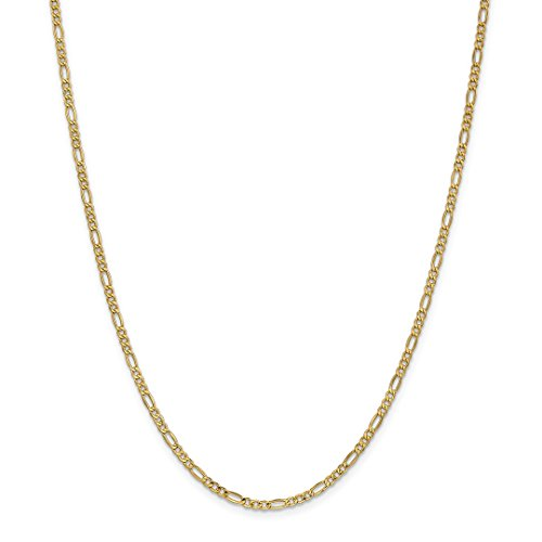 14k Yellow Gold 2.5mm Link Figaro Chain Anklet Ankle Beach Bracelet 10 Inch : Fine Jewelry For Women Gift Set