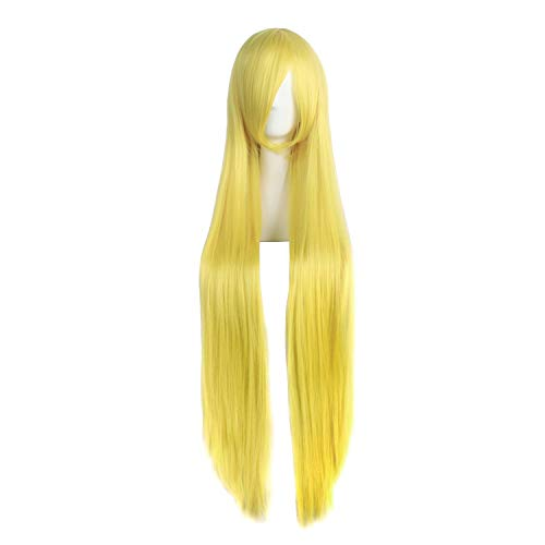 MapofBeauty 40  100cm Yellow Long Straight Cosplay Costume Fashion Party Wig