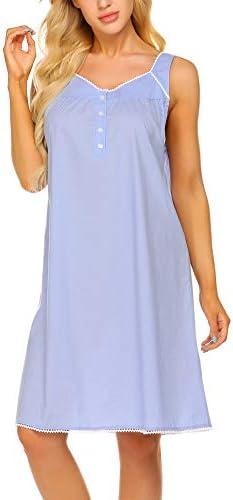 Ekouaer Lace Sleep Dress Button Knee Length Nightgown Soft Womens Night Shirts Sleeveless Sleep product image