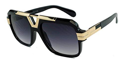 Vintage Fashion Sonnenbrille 70er 80er Jahre Brille Herren Old School Retro Designer Hornbrille schwarz braun gold VC45 (Black/Gold)