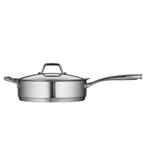Tramontina 80101/022DS Gourmet Prima Stainless Steel, Induction-Ready, Impact Bonded, Tri-Ply Base Covered Deep Saute Pan, 5 Quart, Made in Brazil