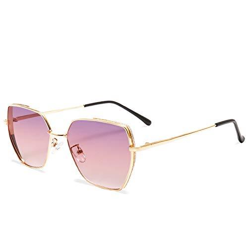 JIER Gafas De Sol Sin Montura Mujer De Gran Tamaño Gradiente Lentes De Corte De Diamante Marco De Metal UV400