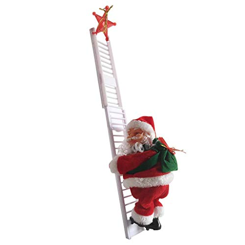 Santa Claus Climbing Ladder Electric Singing Up and Down Hanging Decoration Christmas Tree Ornaments Funny New Year Kids Gifts Party Decor (Ladder Single White)