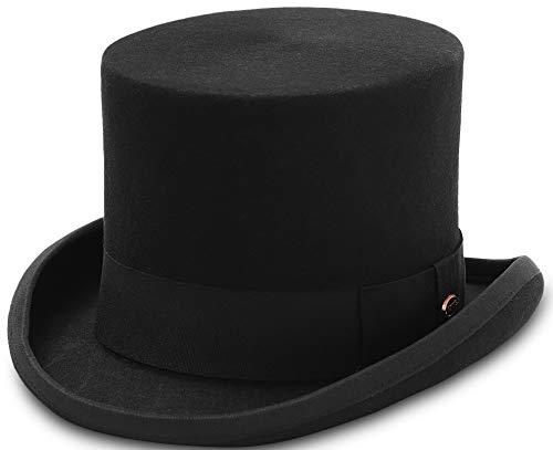 GEMVIE Zylinder Hoher Hut Magic Partyhüte Erwachsenenhut Hut Mütze für Damen und Herren, Schwarz, Kopfumfang 54-56cm