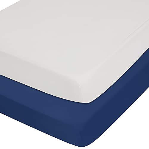 """TILLYOU 2-Pack Microfiber Fitted Crib Sheet Set for Baby Boys Girls, Super Soft Toddler Bed Sheets for Standard Crib and Toddler Mattresses, 28""""x52""""x8"""",28""""x52""""x8"""", White & Navy"""