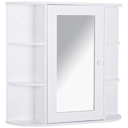 HOMCOM Spiegelschrank Badezimmerregal Badeschrank Wandmontage 8 Fächer MDF Weiß 66 x 17 x 63 cm