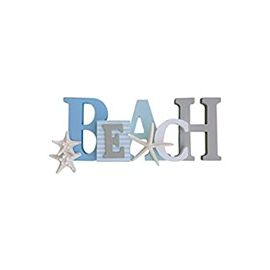Tumbler Home Wooden Beach Word Sign with Trio of Loose Starfish - Tropical Beach Home Decor